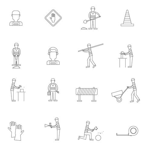 Road worker overzicht pictogram vector