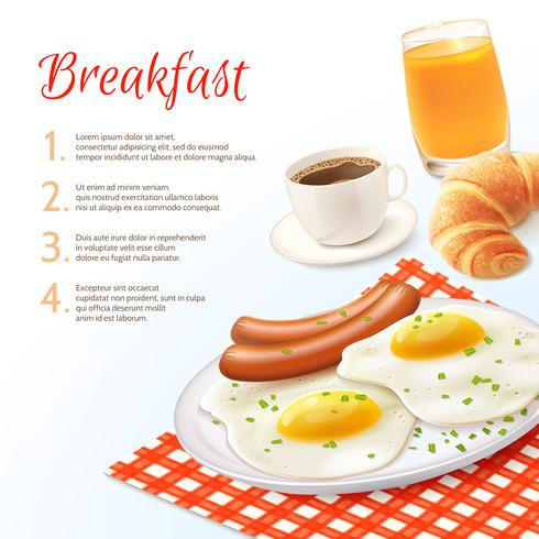 Ontbijt voedsel achtergrond vector