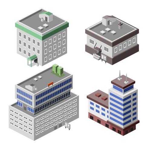 Kantoorgebouwen isometrisch vector