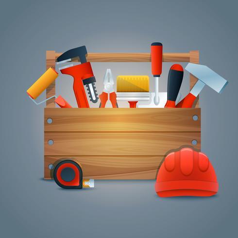 Reparatie constructie gereedschapskist vector