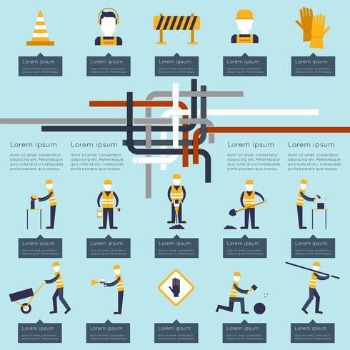 Infographic straatarbeider vector