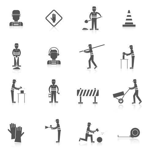 Wegwerker zwart pictogram vector