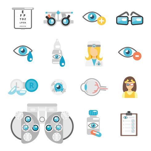 Oculist plat pictogrammen vector