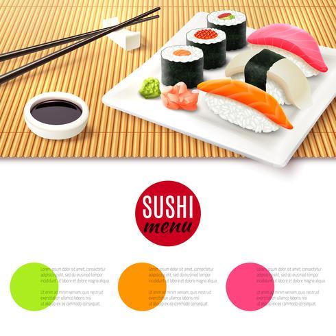 Sushi en bamboe mat vector