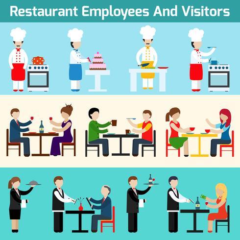 Restaurantmedewerkers en bezoekers vector