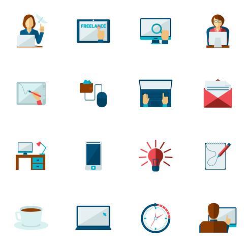 freelance platte pictogrammenset vector