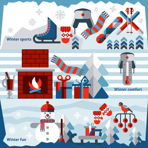 winter banner set vector