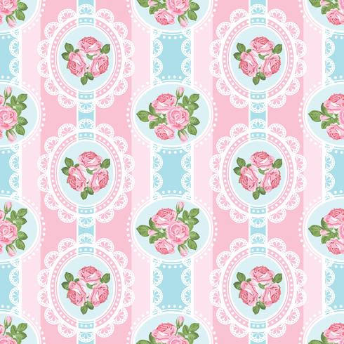 Shabby chic steeg naadloos patroon op roze achtergrond vector