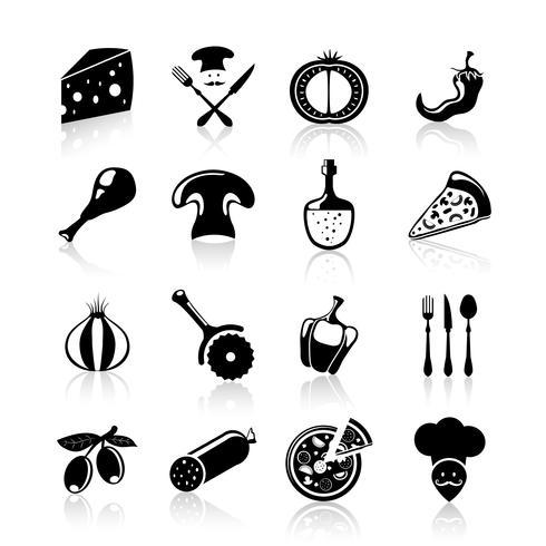 Pizzeria pictogrammen instellen zwart vector