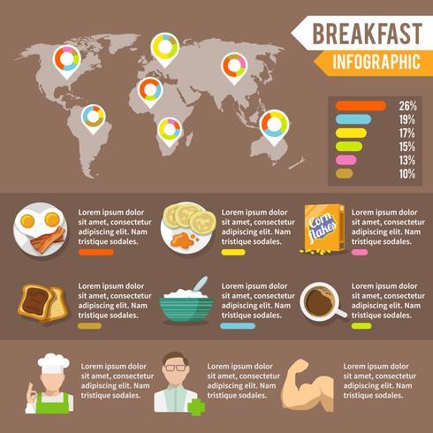 Ontbijt infographic set vector