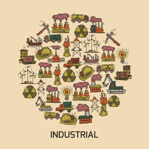 Industriële schets set vector
