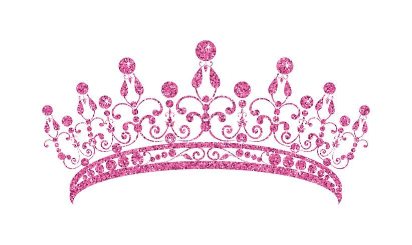 Schitterende diadeem. Roze tiara die op witte achtergrond wordt geïsoleerd. vector