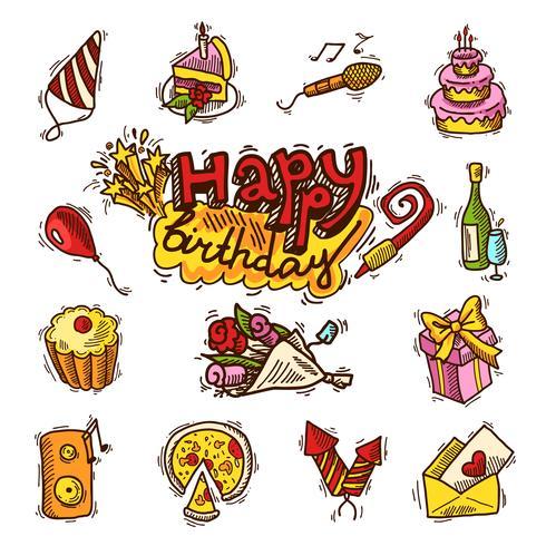 Verjaardag schets kleur pictogramserie vector