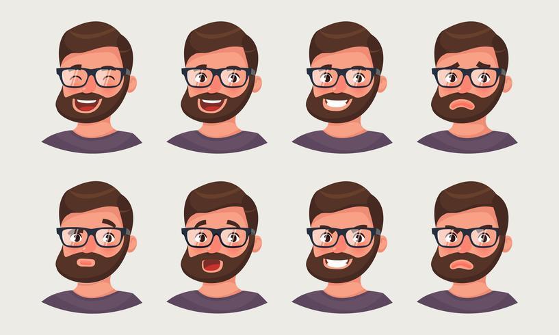 Leuke hipsterzakenman die verschillende emoties toont. Een bebaarde emoji van de mensenbeambte. vector