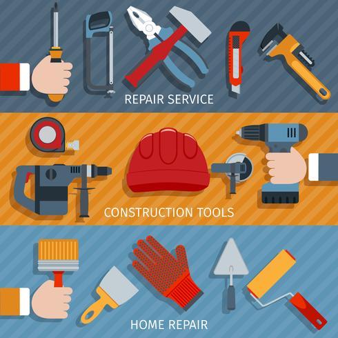 Reparatie gereedschap banners vector