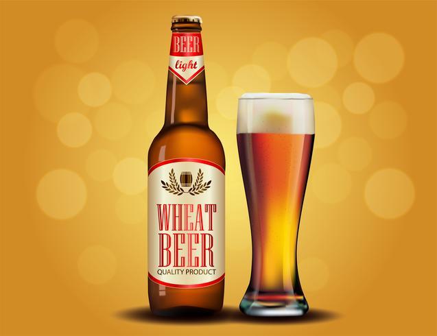 Bier advertentie ontwerp. Postersjabloon voor klassiek witbieradvertentiepakketontwerp. vector