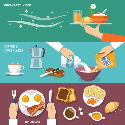 Ontbijt banner set vector