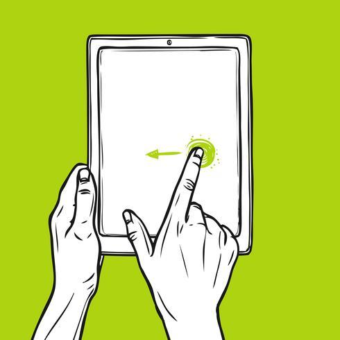 Hand houdt tablet vast vector