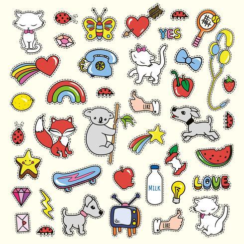 Stickerscollecties in pop-artstijl die op gele witte achtergrond wordt geïsoleerd. vector