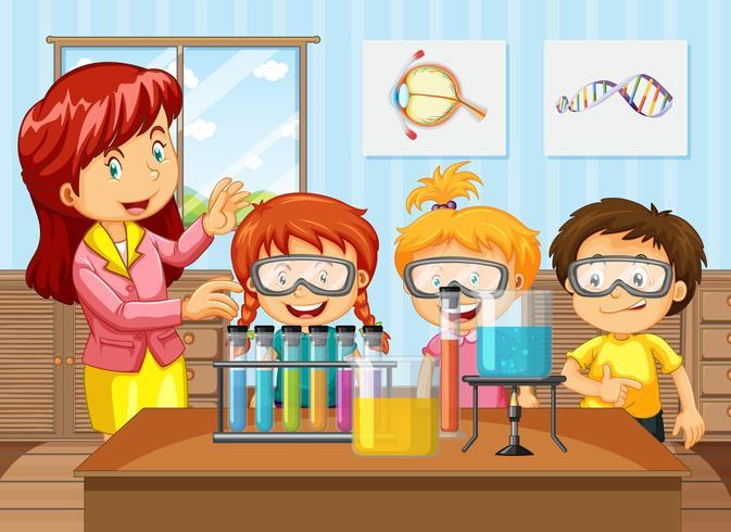 Studenten en docent in de chemie klasse vector