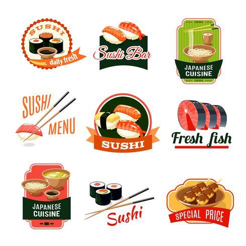 Aziatische voedseletiketten vector