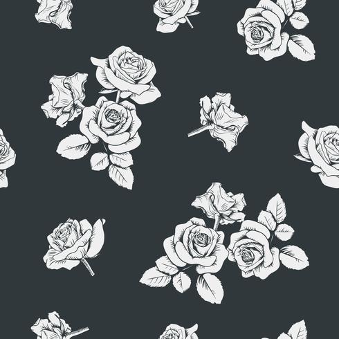Witte rozen op zwarte achtergrond. Naadloos patroon. Vector illustratie