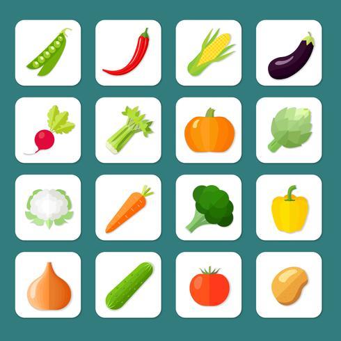 Groenten pictogram plat vector