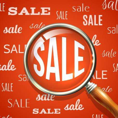 Vergrootglas en verkoop vector