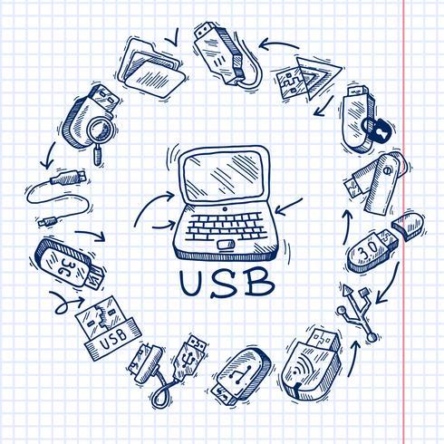 USB en computer vector