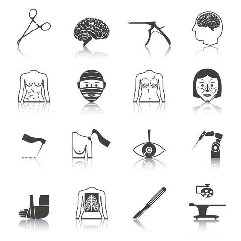 Chirurgie pictogrammen zwart vector