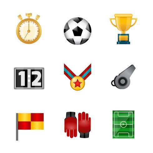 Voetbal realistische pictogrammen vector