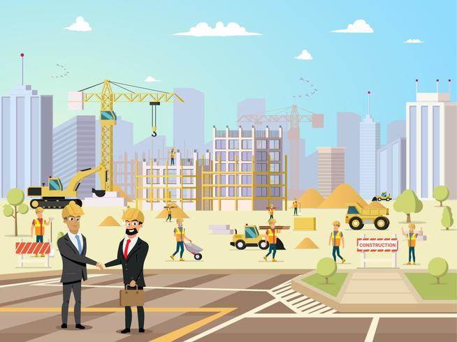 Dealvergadering van partner en aannemer bij bouwconstructies vector