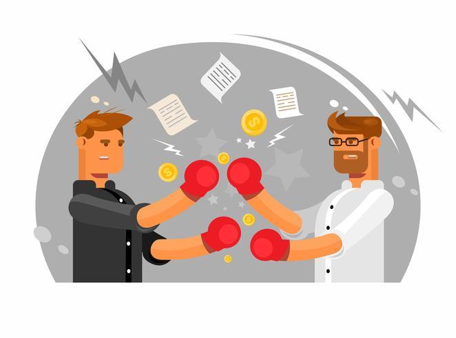 Vector illustratie die twee zakenlieden kenmerkt die een strijd, Bedrijfsstrijdclub hebben.
