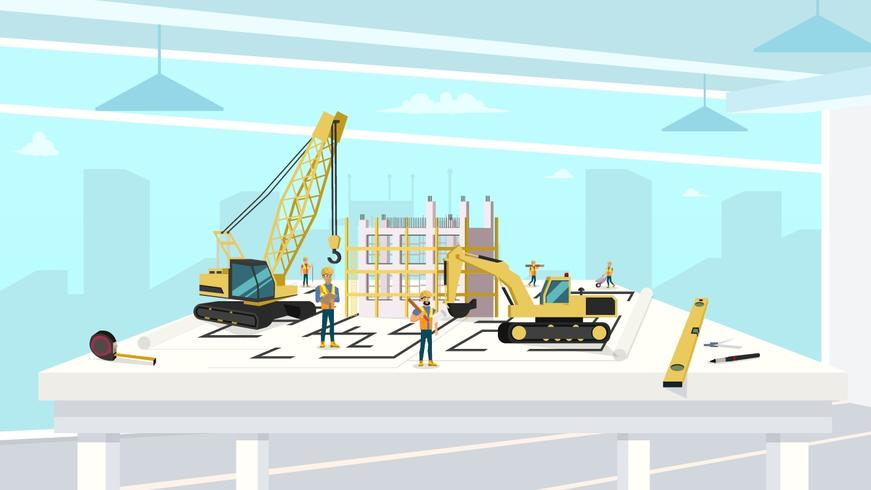 Project in architectenbureau van bouwhuis vector