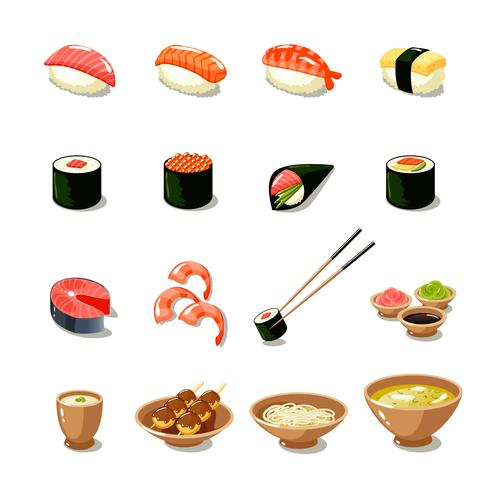 Aziatisch eten icon set vector