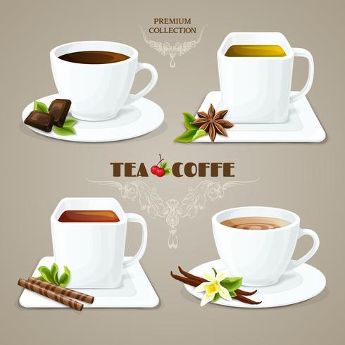 Thee en koffie kopjes instellen vector