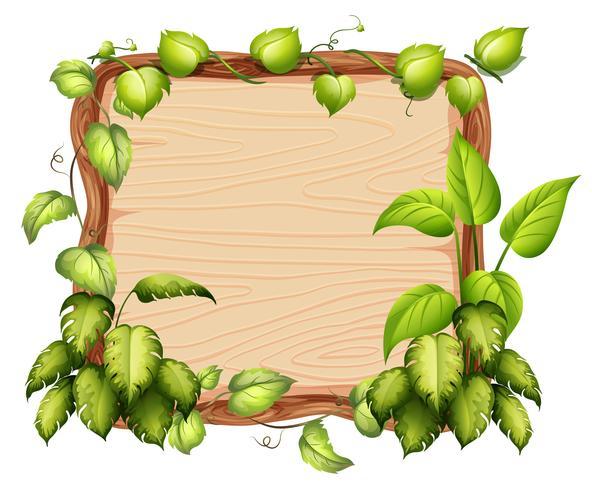 Een houten banner met groen blad vector