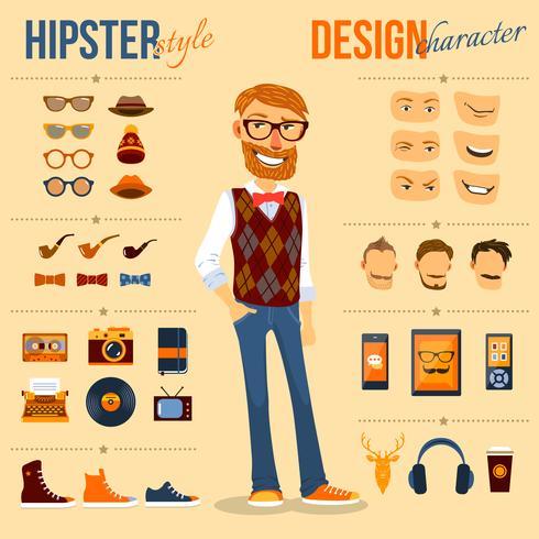 Hipster-tekenset vector