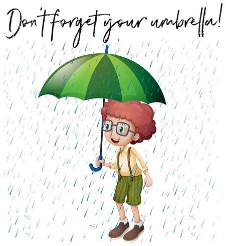 Jongen met groene paraplu en zin vergeet je paraplu niet vector