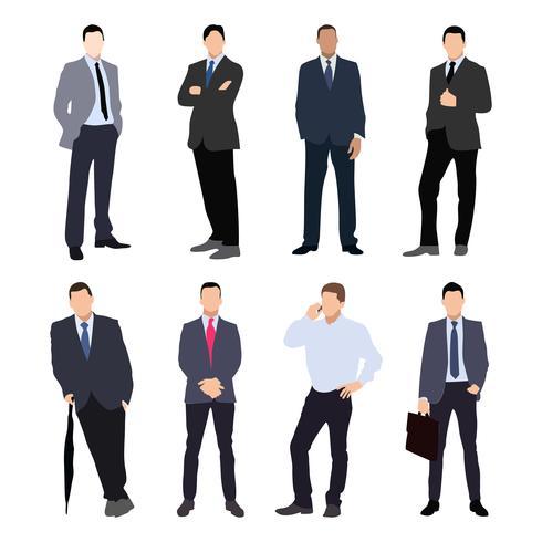 Verzameling van man silhouetten, gekleed in zakelijke stijl. Formele pak, stropdas, verschillende poses. vector