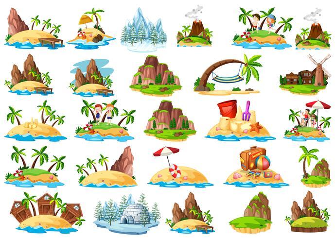 Set van verschillende eiland vector