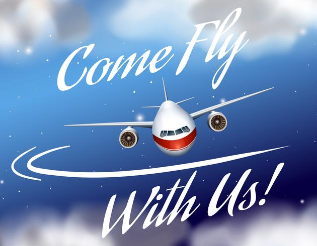Advertentie poster met vliegtuig vliegen vector