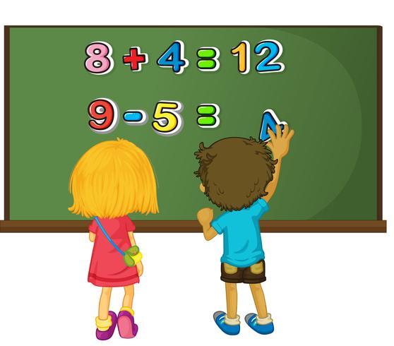 Twee kinderen die wiskundeprobleem oplossen aan boord vector