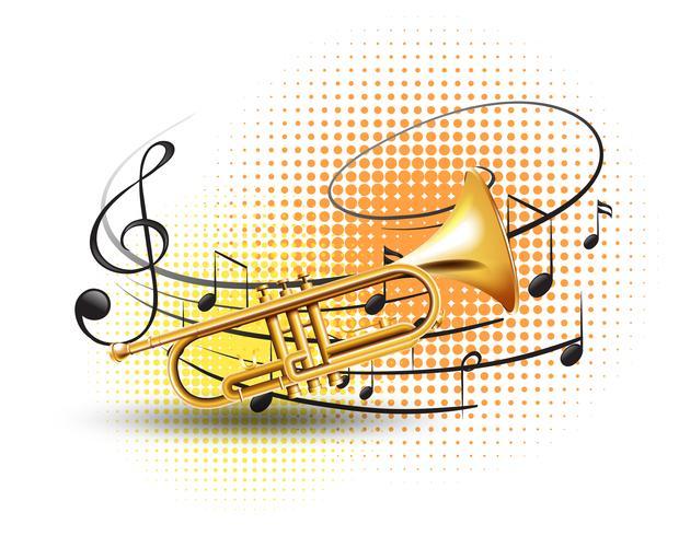 Trompet met muzieknota's op achtergrond vector