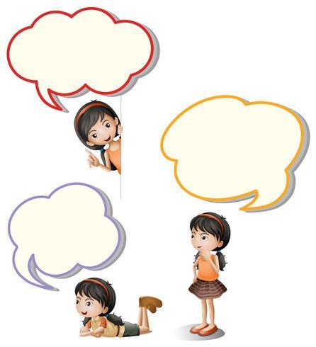 Tekstballonnen en klein meisje vector