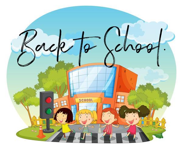 Gelukkige kinderen en woord terug naar school vector