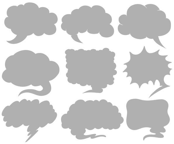 Bubble-spraaksjablonen in negen ontwerpen vector
