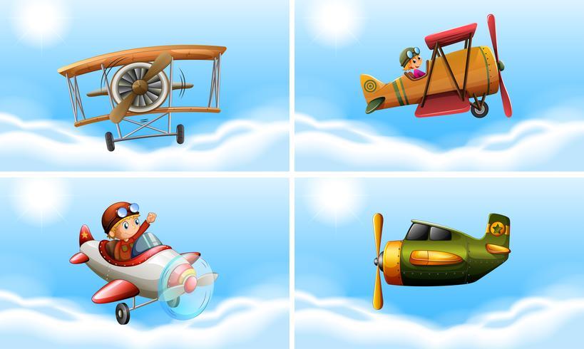 Vier soorten vliegtuigen vector
