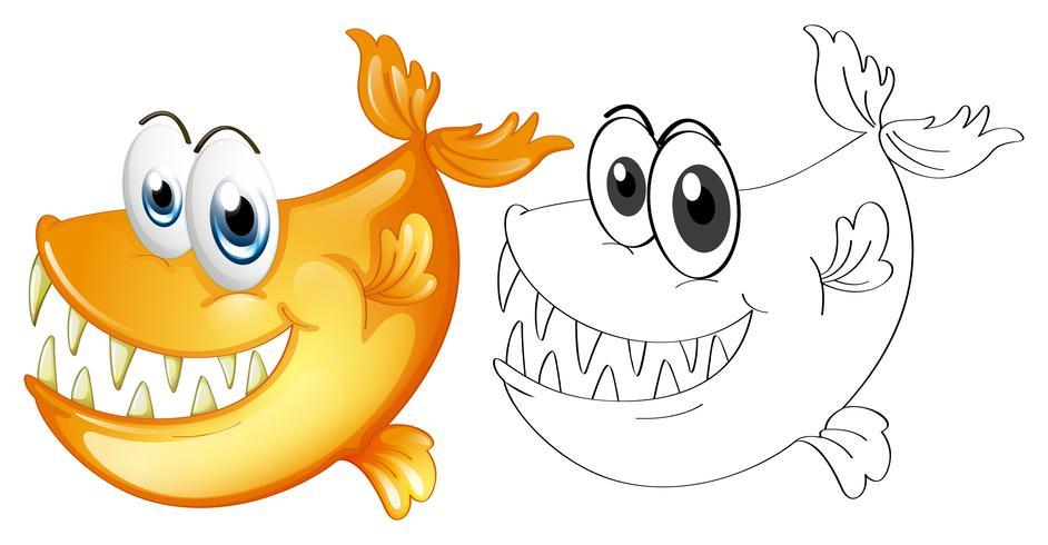 Dierlijke schets voor vissen vector