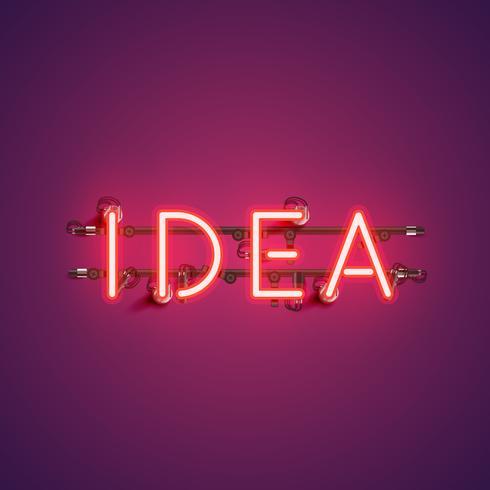 Neon realistisch woord 'IDEE' voor reclame, vectorillustratie vector